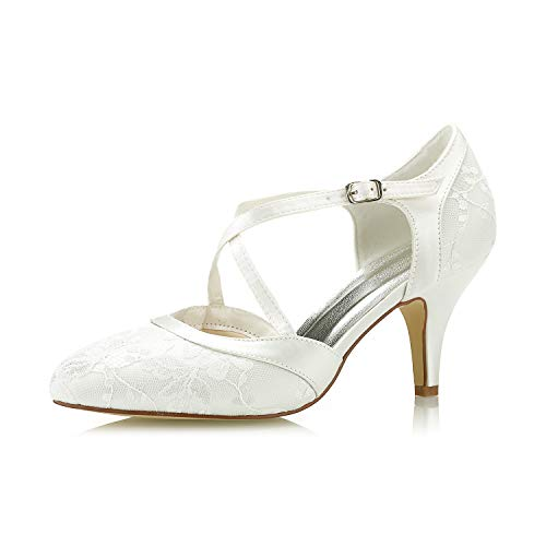 Mrs White 98977-16 Zapatos de Boda Bombas de Mujer Tacón Alto de...