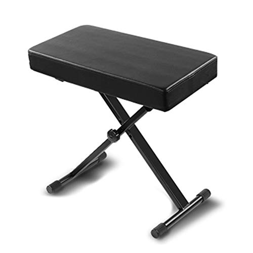 X-Style Portable Adjustable Padded Keyboard Bench With Non-Slip Rubber Mat, Weight Capacity Supporting Up To 220 Lbs, Suitable For Family, Black