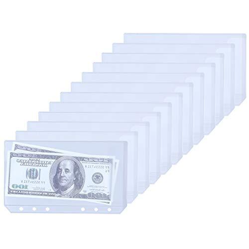 Antner 12pcs Binder Pockets A6 Size 6-Holes Cash Budget Envelopes PVC Loose Leaf Bags Insert Pages for 6-Ring Notebook Binder