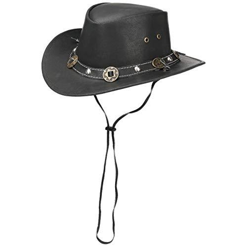 Scippis Concho Lederhut Classic Cowboyhut Australienhut (M/56-57 - schwarz)