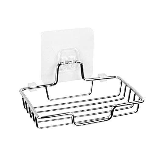 BAWAQAF Jabonera montado en la pared Soporte de jabón de acero inoxidable Jabón esponja Accesorios de baño Jabones Autoadhesivo