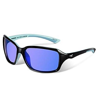 KastKing Alanta Sport Sunglasses for Women,Gloss Black Sky Blue Frame, Smoke Base Cobalt Mirror