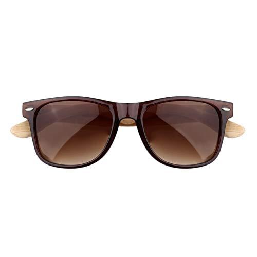 YXDS Gafas de Sol Hombres Mujeres Gafas de Sol de bambú de Vidrio Lente Retro Vintage Marco de Madera Gafas de Sol Hechas a Mano BZ022