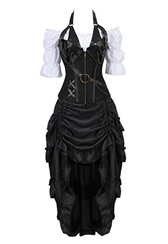 Grebrafan Steampunk Neckholder Corsage Kostüm mit Pirat Spitzenrock und Bluse - für Karneval Fasching Halloween (EUR(40-42) 2XL, Schwarz)
