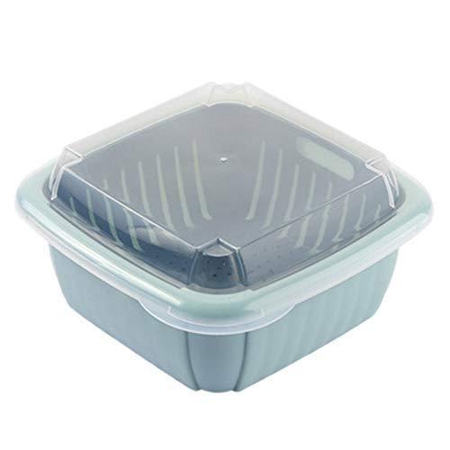 Drenaje cesta de plástico cesta del almacenaje 3pcs de doble capa con tapa for Domésticos de Cocina Caja de almacenamiento azul oscuro + amarillo, color un Para jardín decoración de la barra