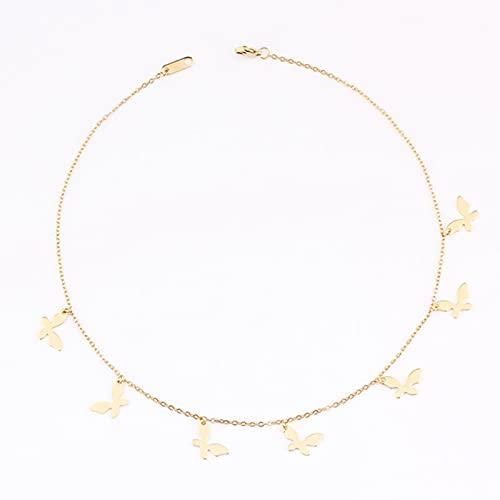 Moda Mujer Simple Oro Acero Inoxidable Estrella Mariposa libélula borlas Redondas Collar de Fiesta sin decoloración Cadenas de Cuello Gargantilla