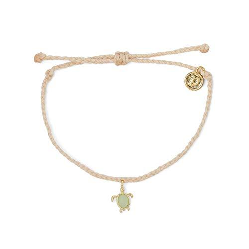 Pura Vida Gold Sea Turtle Wildlife Charity Bracelet - 100% Waterproof, Adjustable Band - Coated Brand Charm, Cream