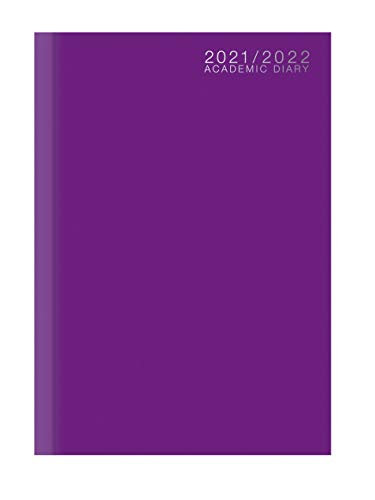 A5 Academic Diary 2021-2022 Week to View Hardback Case Bound - Purple