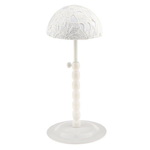 Sharplace Metall Hutständer Verstellbar Hut Mütze Kappe Halter Ständer Rack Perücken Hüte Verkaufsständer Anti-Rutsch Design - Weiß