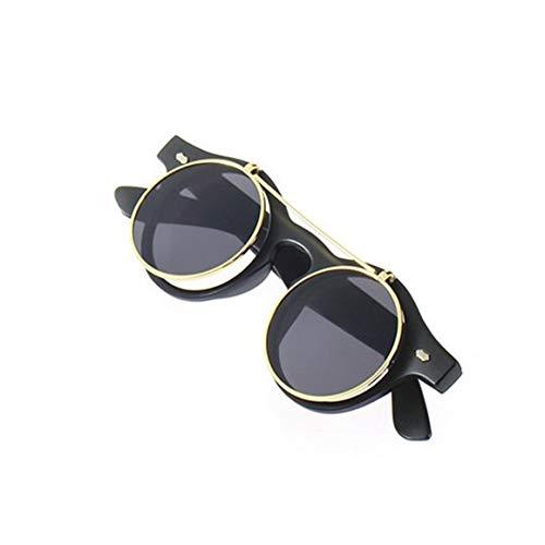 KoelrMsd Gafas de Sol clásicas Steampunk góticas, Gafas de Sol Redondas abatibles, Accesorios de Moda Retro Vintage, Tendencia de Moda, Gafas Redondas