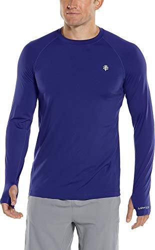 Coolibar UPF 50+ Agility T-shirt à manches longues pour homme Protection solaire - Bleu - Taille S