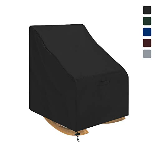 Outdoor Rocking Chair Cover Waterproof 18 Oz - 100% UV & Weather Resistant Patio Chair Cover with Air Pockets and Drawstring for Snug Fit (28 W x 33 D x 39 H, Black)