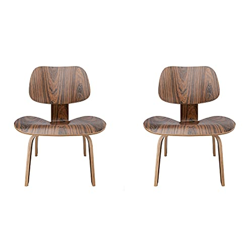 Rimdoc Mid Century Modern Lounge Chair Molded Plywood Accent Chair Solid Wooden Reading Side Chair for Living Room, Study, Office, Cute Small Chair for Bedroom (2, Palisander Wood)