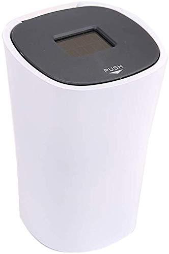ZXL Auto-asbak voor poeder, multifunctioneel, klik op het deksel open asbak voor auto met deksel LED zonnelampen Bagai (kleur: wit, maat: 6,5