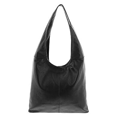 Gabarra - Bolso al hombro de cuero para mujer negro negro 37x30x13 cm