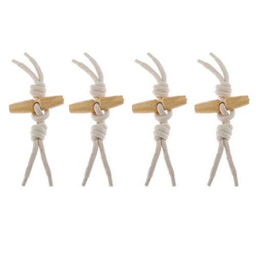 Fenteer 4X Knebelverschluß Knebel Knebelknopf Holz für Mantel, Jacke, Kleidung, Dekoration - Beige