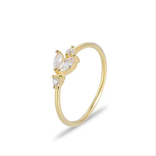 IWINO Japanse Simple Leaf Wave enkele rij diamanten ring Vrouwelijke staartring kan worden gesuperponeerd met 14 goud