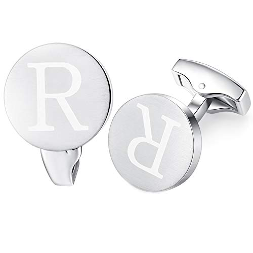 HONEY BEAR Carta Inicial Alfabeto Gemelos - Acero Inoxidable para la Camisa de los Hombres Regalo de Boda del Negocio,Plata cepillada (R)