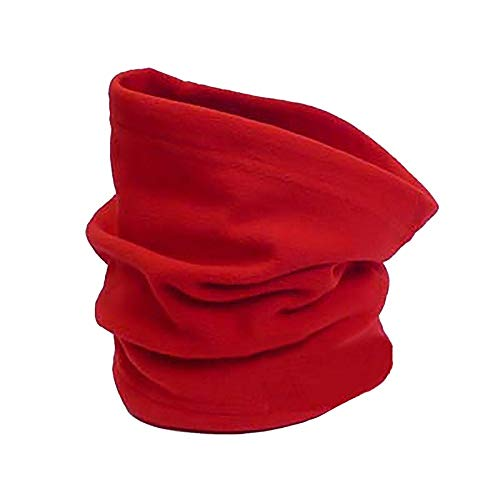 URIBAKE Multifunction Fleece Scarves & Hat 2 in 1 Snood Neck Warmer Solid Mask Beanie Hat Red