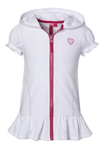 Cobertores de playa para niñas, traje de baño de algodón con capucha de rizo, Blanco, 10-12