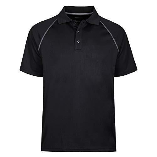 MOHEEN Men's Short Sleeve Performance Polo Shirt (4XL,Black)
