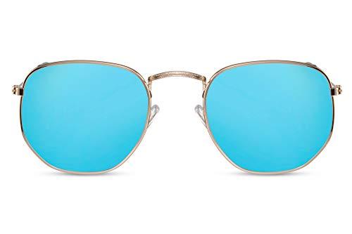 Cheapass Gafas de Sol Gafas Hexagonales Montura Plateada Cristales Azul Claro Espejadas Hombre Mujer Protección UV400