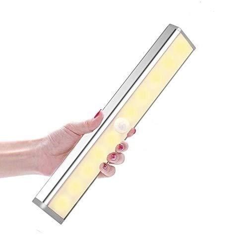 Daping Luce Armadio Sensore di Movimento, Luce Notturna 10 LED Ricaricabile 3 Modalità di Luminosità, Lampada Armadio Wireless perCorridoio, Scale, Cucina (Luce Wireless Caldo Bianco)