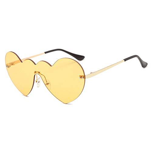 Raxinbang Gafas de Sol Personalidad Sin Borde Gafas De Sol En Forma De Corazón Gafas Transparentes De Moda Protección UV400 Unisex Marco De Oro (Color : Yellow)