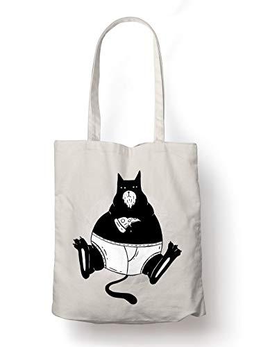 BLAK TEE Lazy Cat Munching on Pizza Organic Cotton Reusable Shopping Bag Natural