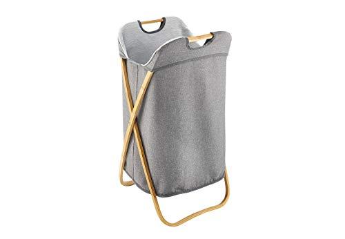 Kobolo Wäschekorb Wäschesammler Textil m. Bambusgestell 79L grau 40x36x70