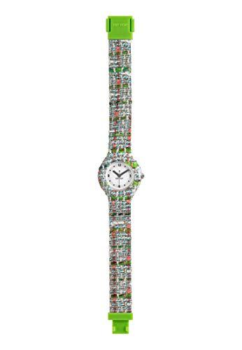 Orologio HIP HOP donna TWEED quadrante bianco e cinturino in silicone, tessuto verde, movimento SOLO TEMPO - 3H QUARZO