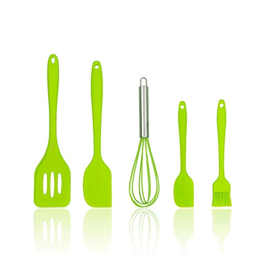Fuleat Silicone Cooking Utensil Set for Baking, 5 pcs Silicone Cooking Kitchen Utensils Set, Heat-Resistant and Non-Stick, Including: Brush, Egg Beater, Leakage Shovel, Large Scraper, Small Scraper