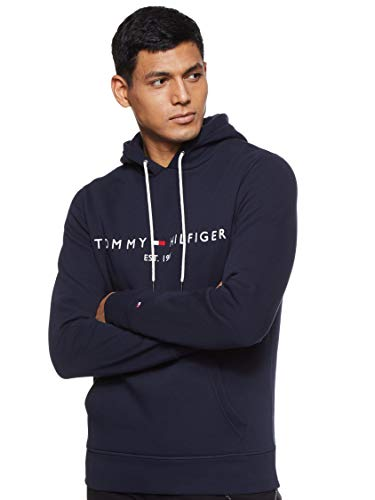 Tommy Hilfiger Herren Tommy Logo Hoody Sweatshirt, Blau (Sky Captain 403), Large (Herstellergröße:L)