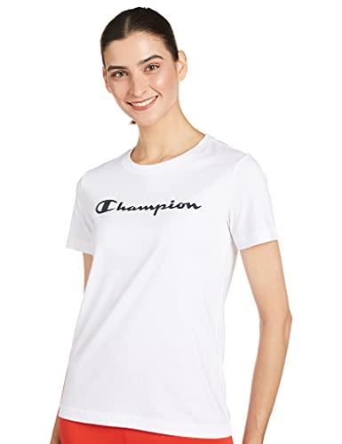 Champion Legacy Classic Logo Camiseta, Blanco, Blanca, Medium para Mujer