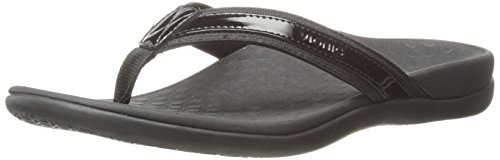 Vionic Women's Tide II Toe Post Sandal - Ladies Flip Flop with Concealed Orthotic Arch Support Black 11 B(M) US