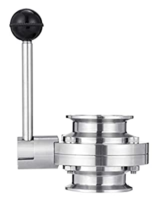 """NATGAI 2"""" Tri Clamp Sanitary Butterfly Valve with Pull Handle Stainless Steel 304 Tri Clamp Clover (SS304 2 Inch) from NATGAI"""