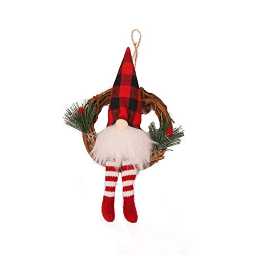 Decoración de Navidad, anillo de ratán de Navidad, colgante de ratán, para el hogar, Navidad, ventana, luces de Navidad, para mujeres, hombres, niñas, regalos de Navidad para fiestas en el hogar