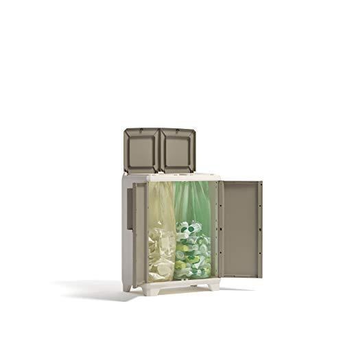Keter 9735200 Split Cabinet Recycling Premium Wood Contenitore con coperchio per la Raccolta Differenziata, in plastica, Beige, 68 x 39 x 92 cm