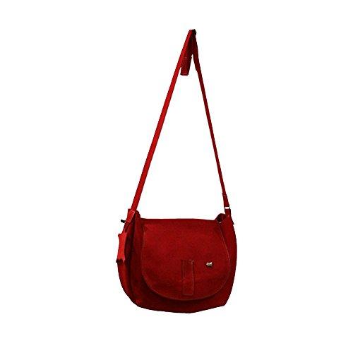 La Auténtica BAG3 - Bolso bandolera serraje afelpado rojo