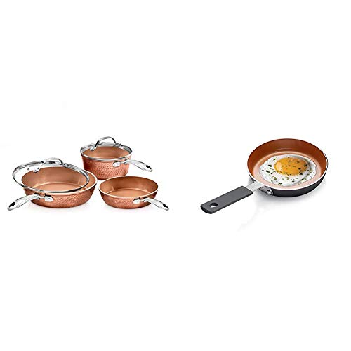 Gotham Steel Premium Hammered Cookware - 5 Piece Cookware, Pots and Pan Set with Triple Coated Nonstick Copper Surface & Mini Egg and Omelet Pan with Ultra Nonstick Titanium & Ceramic Coating - 5.5""