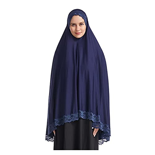 Vestido de oración musulmán para mujer, vestido de oración islámica musulmán de longitud completa Hijab Ropa musulmán Ropa Muslim Hijab Mantones (Color : Navy blue scarf, Size : XL)