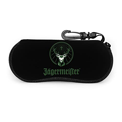 Jagermeister Sunglasses Soft Case With Belt Clip, Portable Glasses Case Neoprene Zipper Eyeglass Bag