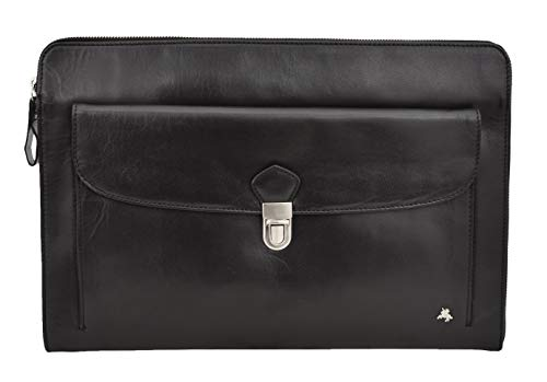 Underarm Folio Bag Real Black Leather Portfolio Conference Tablet Document Case Oxford