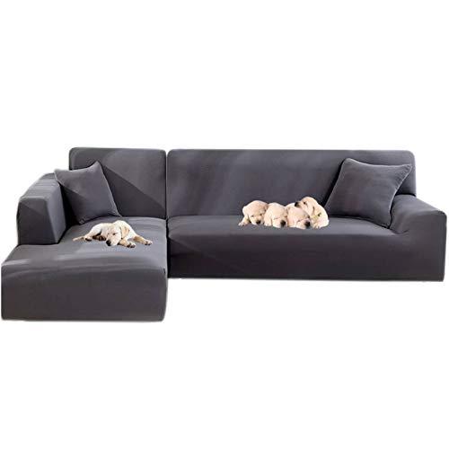 JIAN YA NA - Funda de sofá, extensible, de poliéster, para sofá de ángulo + 2 fundas de almohada, tela, gris, 2 Place + 2 Place
