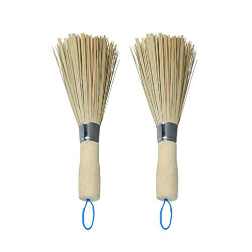 UPKOCH 2 Stück Bambus Wok Bürsten Wok Reinigung Schneebesen Bratpfanne Bürsten Küche Reinigungsbürsten für zu Hause Restaurant
