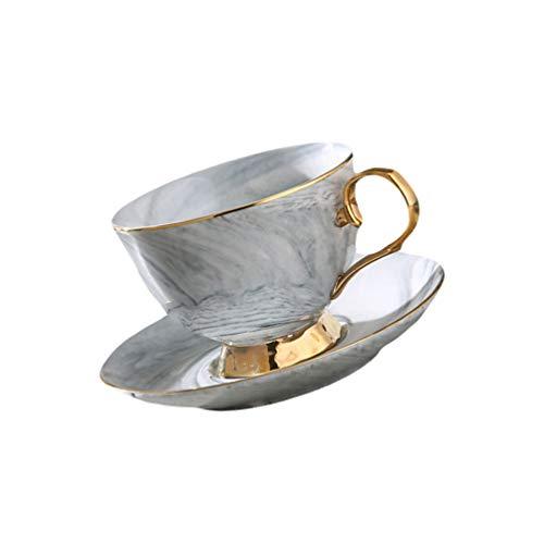 Hemoton 250Ml Graugold Rand Marmor Stil Keramik Kaffeetasse Und Untertasse Set Teetasse Keramik Milch Kaffee Getränk Latte Mokka Tee Cappuccino Tasse Tasse