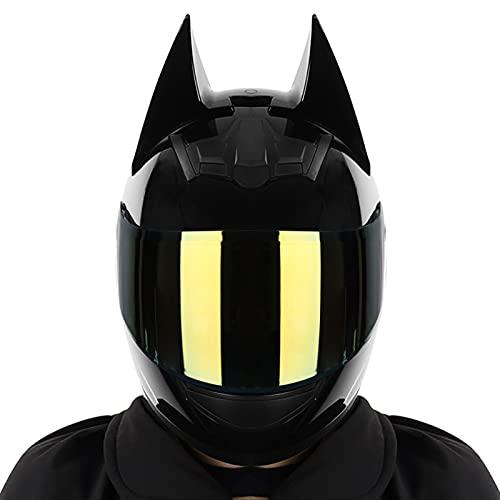 Casco de motocicleta con Bluetooth, casco integral, casco de motocicleta con orejas de gato y personalidad, casco modular con visera de sol plegable para scooter anticolisión ATV (lente chapada en o