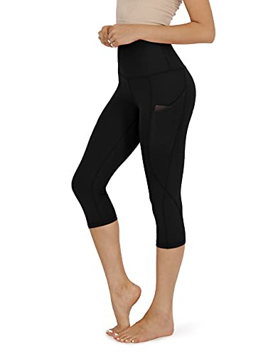 ODODOS Women's High Waisted Yoga Capris with Pockets,Tummy Control Non See Through Workout Sports Running Capri Leggings, Black,X-Large