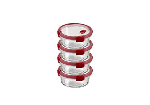 Curver Cook Recipiente de Vidrio, Transparente/Rojo, 0.6 l