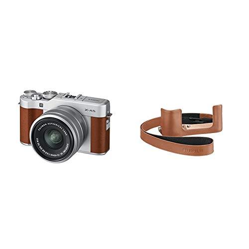 FUJIFILM ミラーレス一眼カメラ X-A5レンズキット ブラウン X-A5LK-BW +FUJIFILM X-A5用ケース ブラウン BLC-XA5 BW